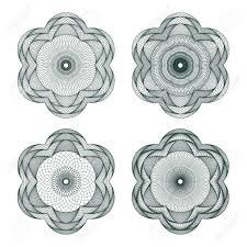 set of guilloche element for certificate money design royalty