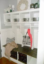 Entryway Cubbies Remodelaholic Diy Built In Entryway Table With Board And Batten