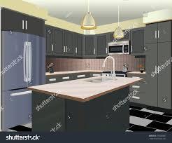 kitchen interior background furniture design modern stock vector kitchen interior background with furniture design of modern kitchen symbol furniture kitchen illustration