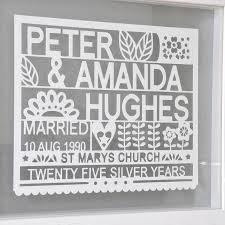 silver anniversary gifts 25th wedding anniversary gift silver anniversary print