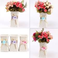 home decoration flowers plastic artificial rattan flower basket roses fruits candy storage