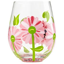 stemless wine glasses oops a daisy hand painted stemless wine glass 20 oz