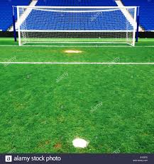 Penalty Flag Football View Of Soccer Pitch From Behind Corner Flag Stock Photo Royalty