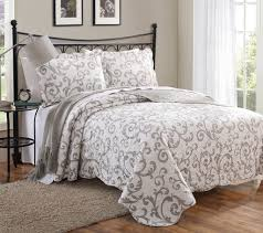 3 loral taupe scroll quilt set sweet dreams