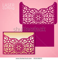 wedding wishes envelope laser cut wedding invitation card template stock vector 496360609