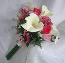 silk bridal bouquet pink ivory bridal bouquet roses calla lilies silk wedding