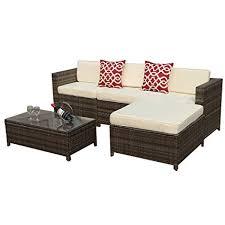 White Patio Furniture Sets Outdoor Patio Furniture Set 5pc Pe Wicker Rattan