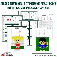 mixed numbers and improper fractions mystery picture with coloring