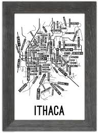 Ithaca Ny Map Ithaca New York Street Map Print Street Posters