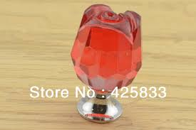 Red Kitchen Cabinet Knobs 10pcs K9 Red Crystal Rose Knobs Furniture Kitchen Handles Drawer