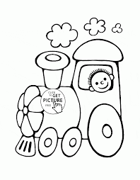 very detail illustration train coloring page kids pictures