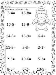 st patrick u0027s day mixed subtraction task cards and printables