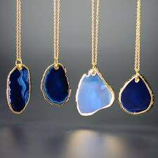 crystal stone pendant necklace images Natural agate irregular stone pendant necklace malala jewelry jpg
