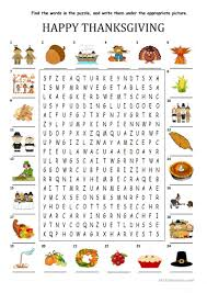 thanksgiving wordsearch with key worksheet free esl printable