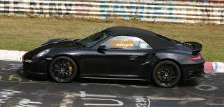 black porsche 911 turbo porsche 911 turbo convertible spied lapping nurburgring photos