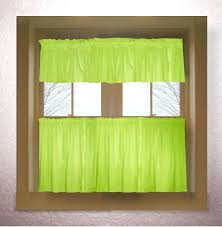 lime green sheer window curtains solid colored style curtain includes 2 valances and kitchen panels in