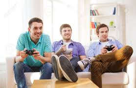 friendship technology games and home concept smiling male
