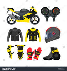 sport bike motorcycle boots vector set motorcycle accessories design elements stock vector