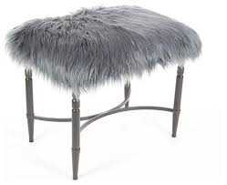 gray metal faux fur stool contemporary vanity stools and