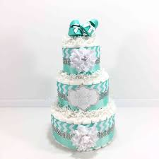 Diaper Cake Centerpieces by Aqua Silver And White Baby Baby Shower Diaper Cake
