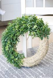 diy faux boxwood wreath that lights up hometalk