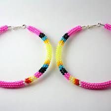 hoop beaded earrings shop beaded hoop earrings on wanelo