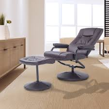 homcom pvc leather recliner and ottoman set cream homcom ergonomic pu leather lounge armchair recliner and ottoman set