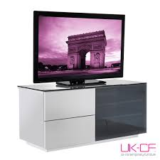 Glass Tv Cabinets With Doors by Ukcf Paris White Gloss 2 Drawer Tv Stand With Black Glass 110cm