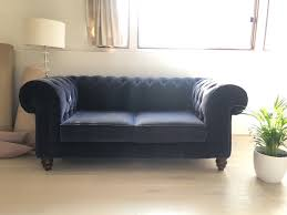 Blue Velvet Chesterfield Sofa Blue Velvet Chesterfield Sofa In Gumtree