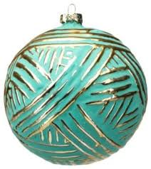 large ornament turquoise and gold brush
