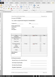 asset acquistion request worksheet template