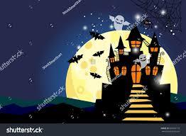 halloween scary night background moon sky stock illustration