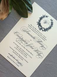 wedding invitations navy sle magnolia wreath and monogram wedding invitation with navy