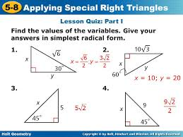 special right triangles worksheet worksheets releaseboard free