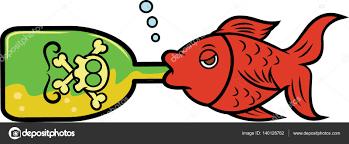 cartoon alcohol bottle fish drinking alcohol from bottle cartoon illustration u2014 stock