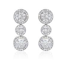 white earrings winsor bishop inspire 18ct white gold cluster diamond
