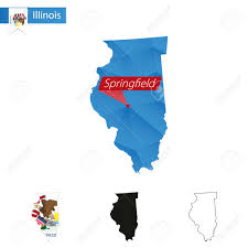 Illinois Blank Map by State Of Illinois Blue Low Poly Map With Capital Springfield