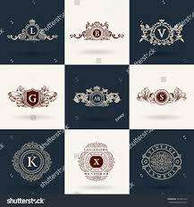 luxury logos monogram vintage royal flourishes stock vector