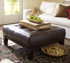 Square Ottomans Sullivan Leather Square Ottoman Pottery Barn