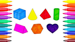 geometric shapes coloring pages colors with colored markers for