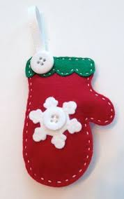 and white felt mitten ornament crafts jewelry misc