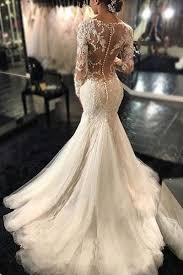 custom wedding dresses sleeve lace mermaid wedding dresses see through