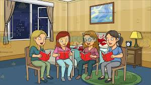a woman in a book club at a crime scene bedroom cartoon clipart
