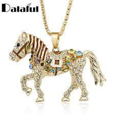 horse necklace pendants images Horse necklace multicolor crystal rhinestone long chain necklaces jpg
