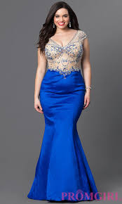 sheer bodice plus size mermaid prom dress promgirl
