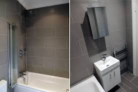 Small Gray Bathroom Ideas - grey standing mosaic bathroom feature wall pebble tile shop large