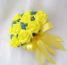 Teal Roses Wedding Flowers Brides Posy Bouquet In Yellow Roses With Teal Trim