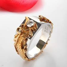 luxury rings images Threeman excellent au750 gold luxury china dragon jewelry jpg
