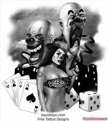 gangster clown and dice tattoos design viewer com