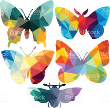 triangle polygonal silhouettes of butterfly stock vector art